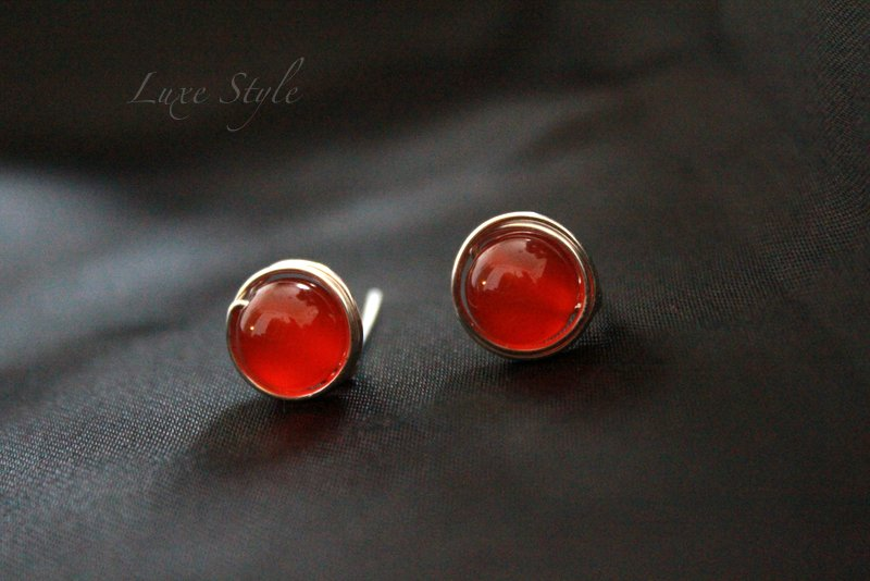 Stud Earrings Sterling Silver Carnelian Healing Jewelry