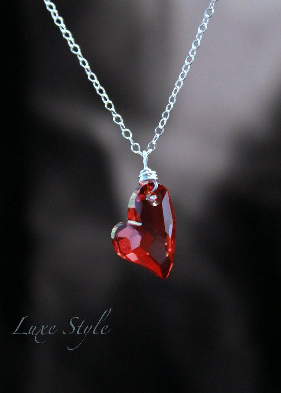 Heart pendant in red swarovski crystal sterling silver 18 chain heart pendant in red swarovski crystal sterling silver 18 chain included aloadofball Image collections