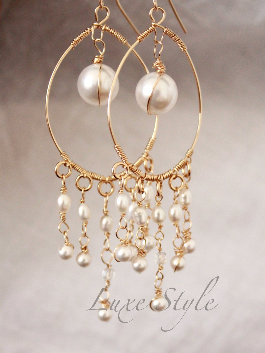 Bridal Chandelier Earrings Pearl Drop Gold Wire Wred Unique Handmade Jewelry
