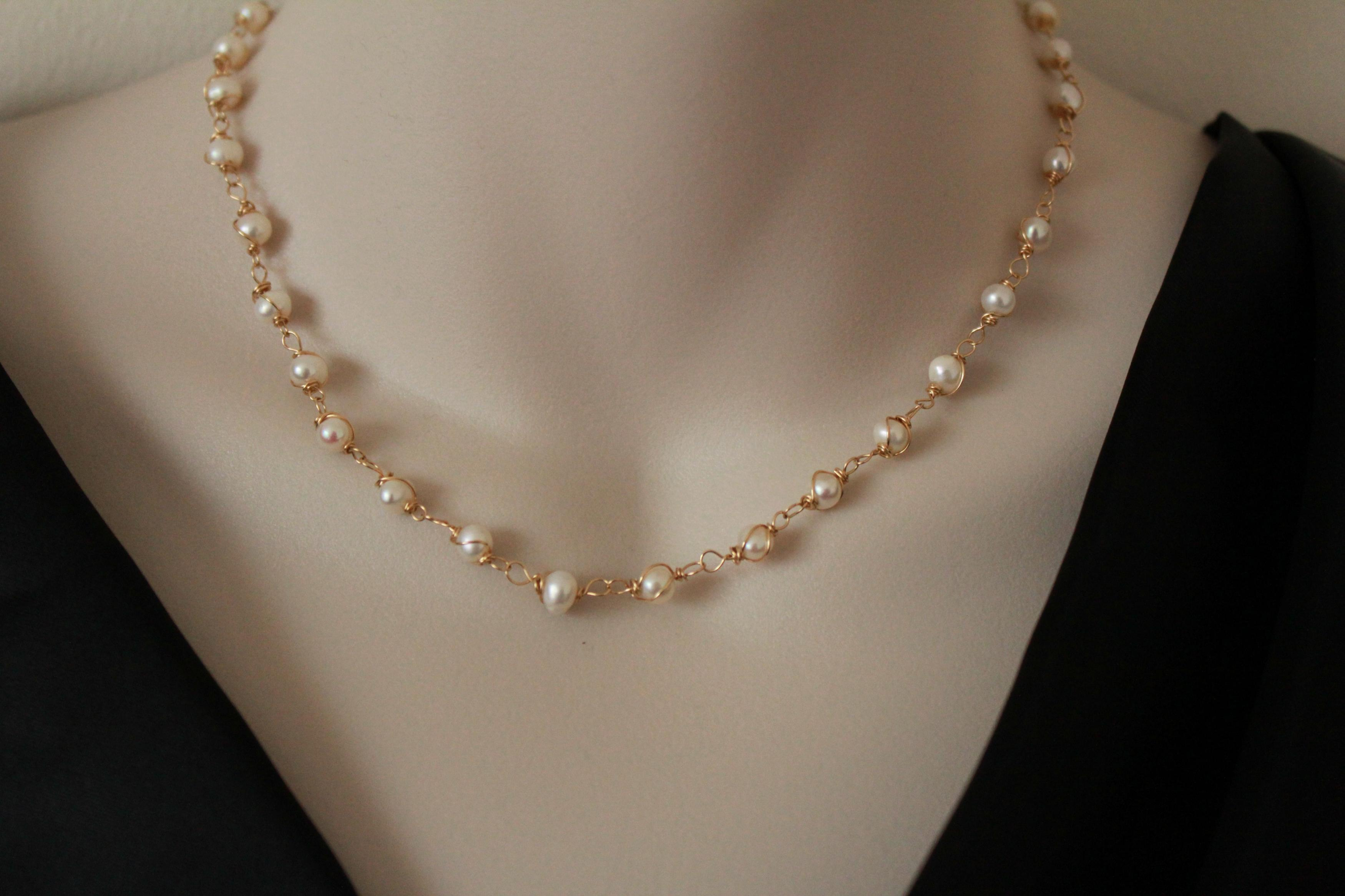 Classic Pearl Necklace Gold Filled Wire Wrapped Jewelry Simple